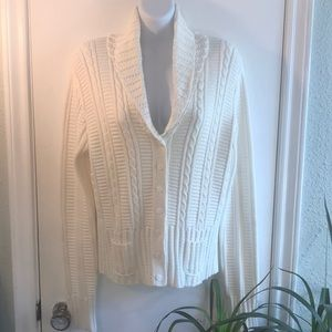 Calvin Klein Ivory Cable Knit Sweater